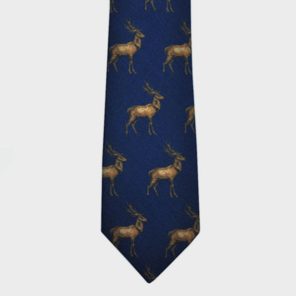 Majestic Stag Print Wool Tie