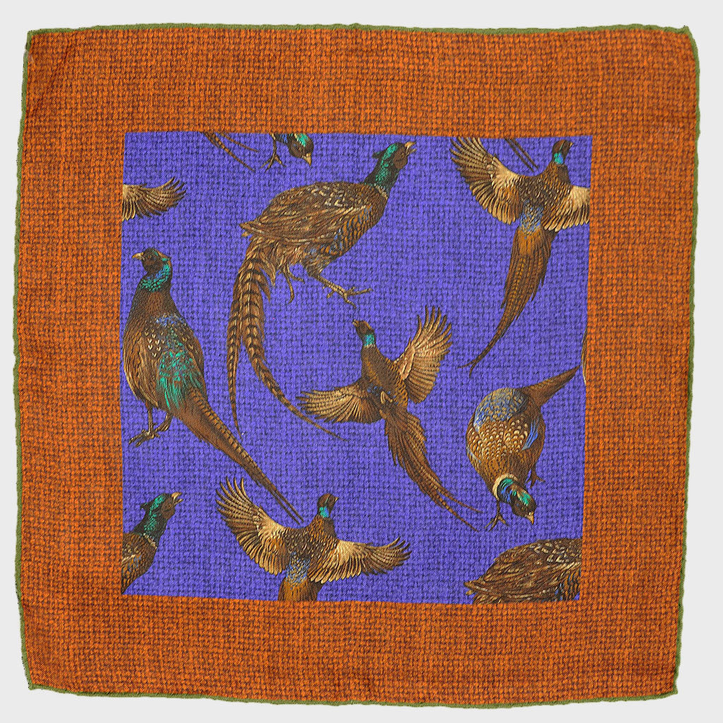 Wool & Silk Pheasant Funk Pocket Square in Autumnal Colours