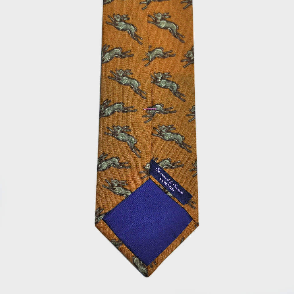 Jumping Hare Print Wool Tie in Yellow