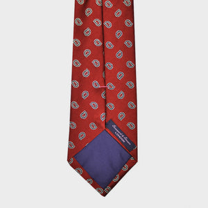 Teardrop Shell Classic Woven Silk Tie in Red