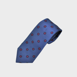 Neat Repeat Floret Classic Woven Silk Tie in Blue