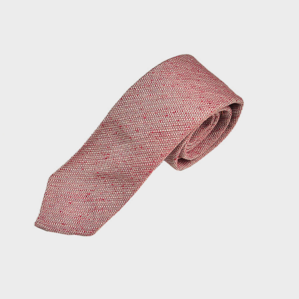 Hand Rolled Raw Slub Silk Tie in Red