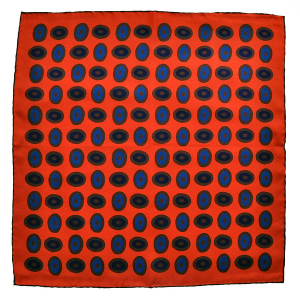 English Silk Round Geometrics Pocket Square