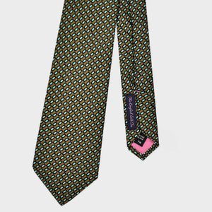 Retro Circles Silk Tie in Olive & Teal