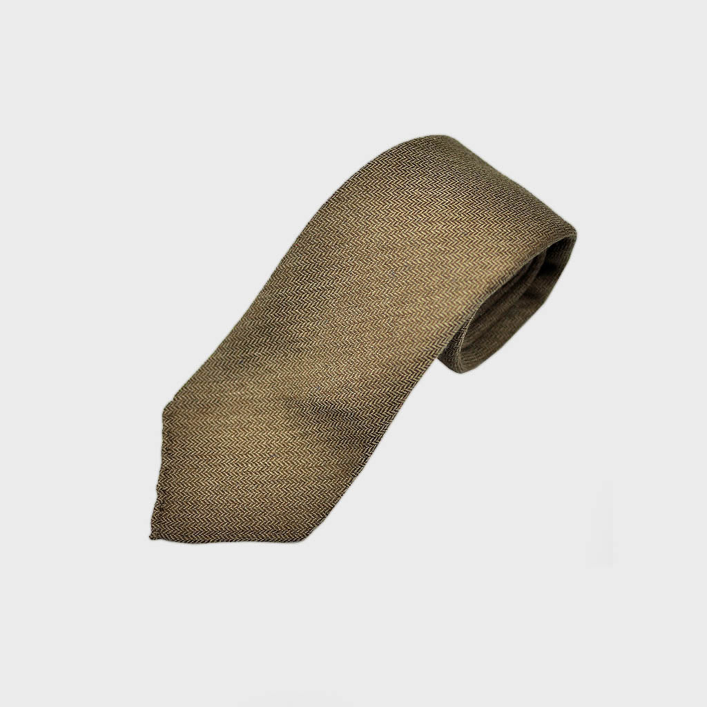 Herringbone Hand-rolled Cashmere Tie in Brown