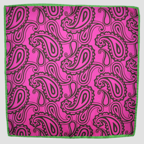 English Silk Paisley Tones Pocket Square