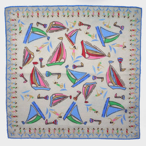 Boats & Bathers Cotton & Cashmere Pocket Square in White