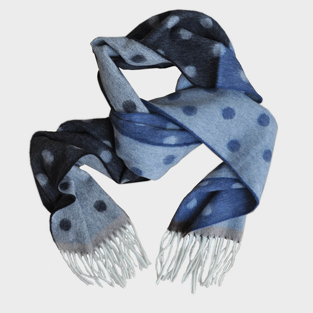 Spots and Colours Wool Scarf in Browns & Blues