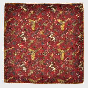 Country Life Reversible Panama Silk Pocket Square in Claret
