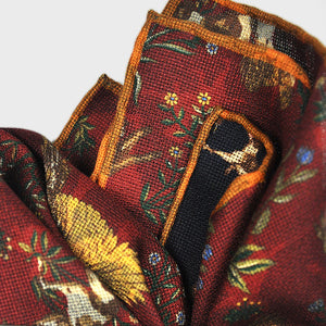 Autumnal Life Reversible Panama Silk Pocket Square in Claret