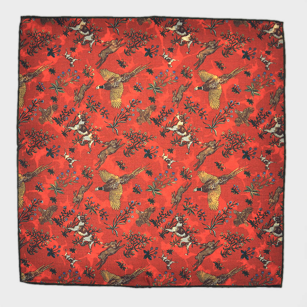 Country Life Reversible Panama Silk Pocket Square in Orange