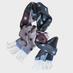 Wool Spots and Colours Winter Scarf Greys, Reds & Blues