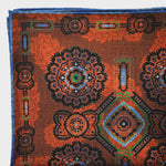 Florets & Teardrops Reversible Panama Silk Pocket Square in Rusty Brown & Navy