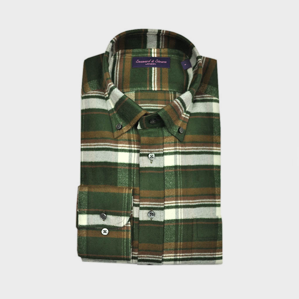 Check Button Down Brushed Cotton Over-Shirt in Green & Brown