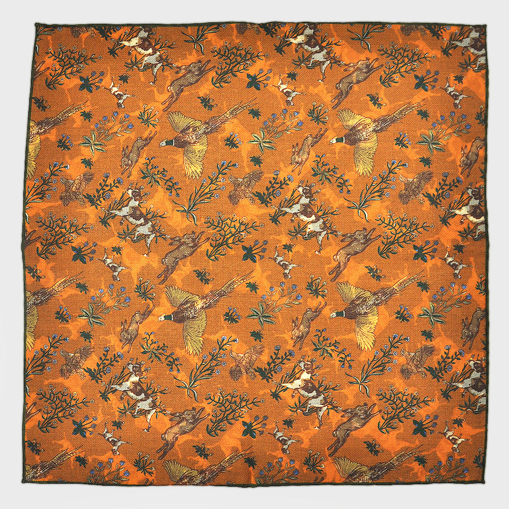 Autumnal Life Reversible Panama Silk Pocket Square in Autumnal Ochre
