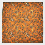 Country Life Reversible Panama Silk Pocket Square in Autumnal Ochre