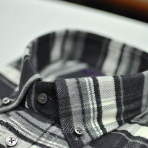 Check Button Down Brushed Cotton Over-Shirt in Greys & White