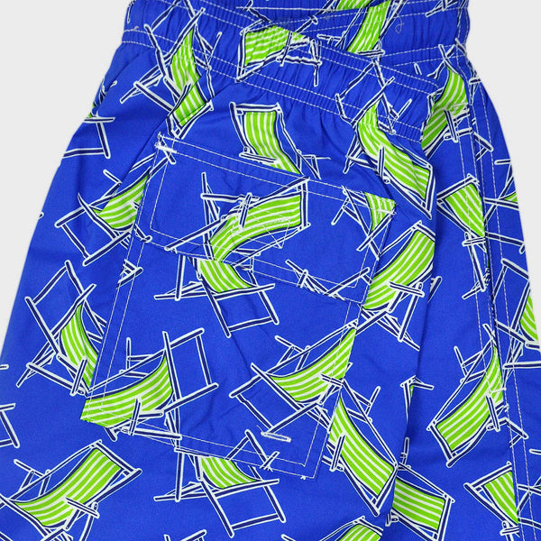 Deck Chair Swim Short in Royal Blue & Lime