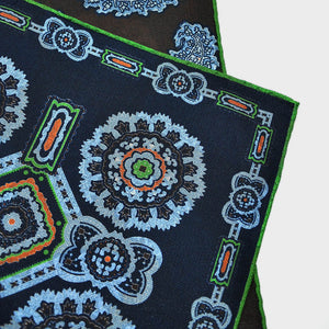 Florets & Teardrops Reversible Panama Silk Pocket Square Midnight Blue & Brown