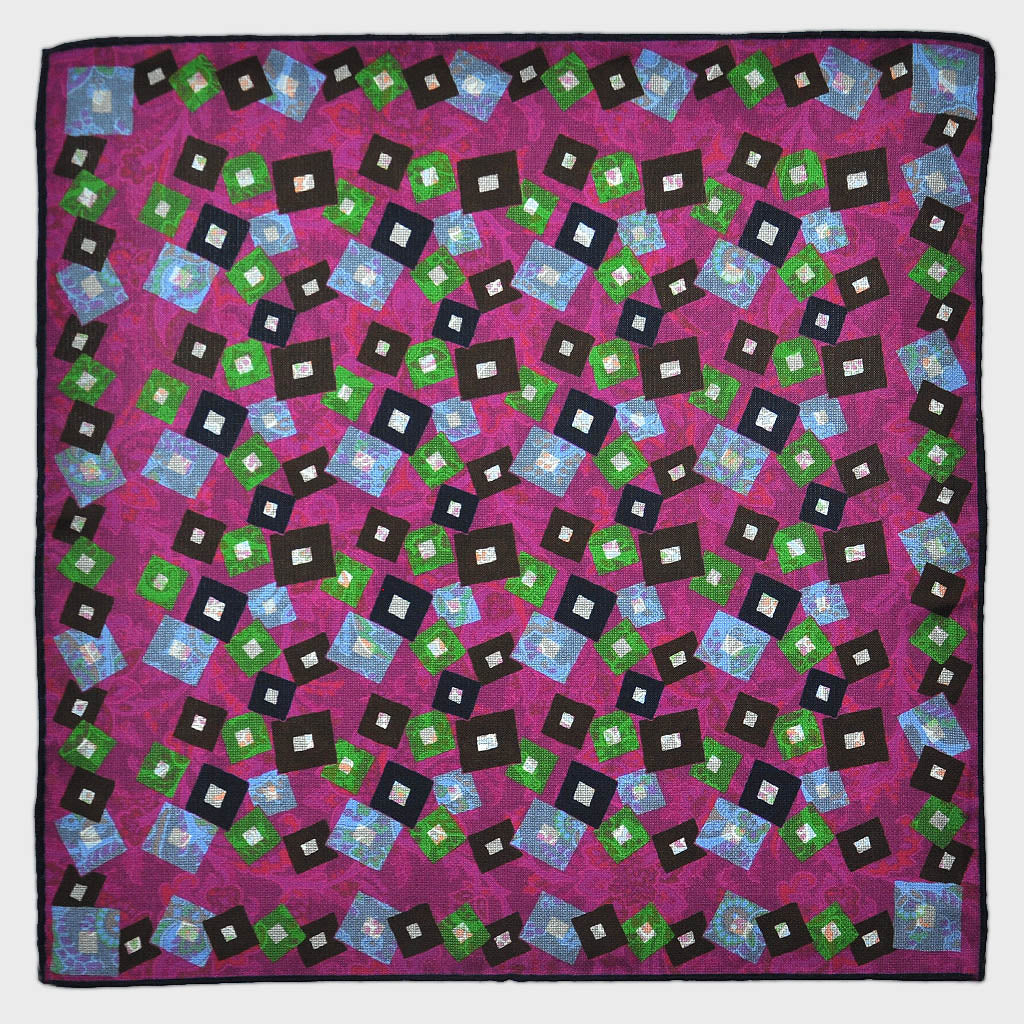 Geo's & Paisley Reversible Panama Silk Pocket Square in Pink & Brown