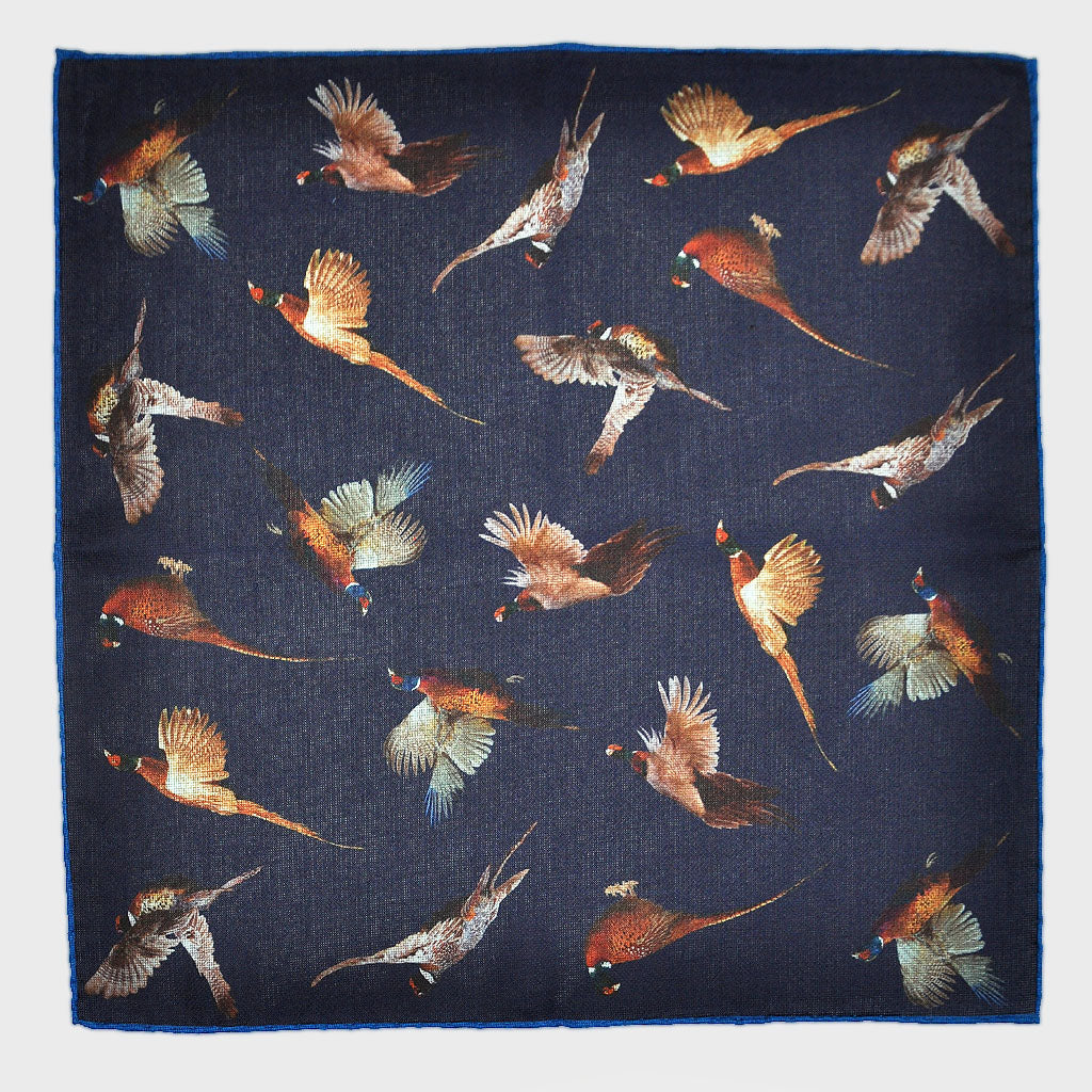 Flying Pheasant Reversible Panama Silk Pocket Square