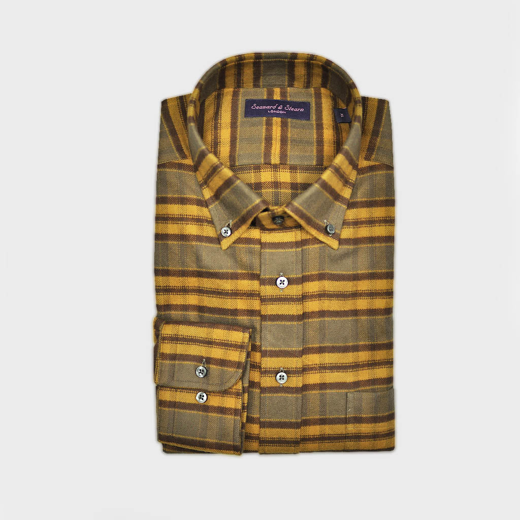 Check Button Down Brushed Cotton Over-Shirt in Brown & Ochre