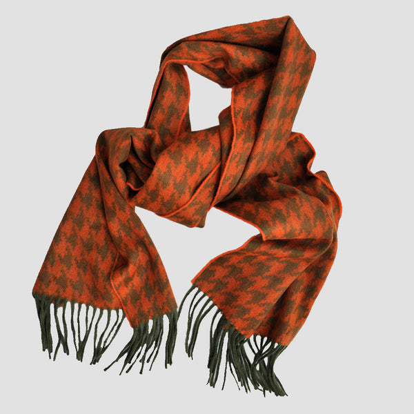Wool Houndstooth Winter Scarf