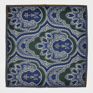 Reversible Paisley & Polka Dot Panama Silk Pocket Square in Green & Blue