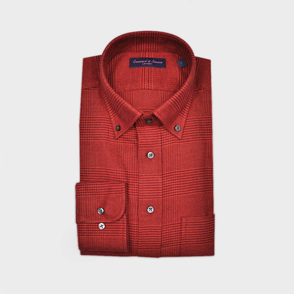 Prince of Wales Check Button Down Brushed Cotton Over-Shirt in Red
