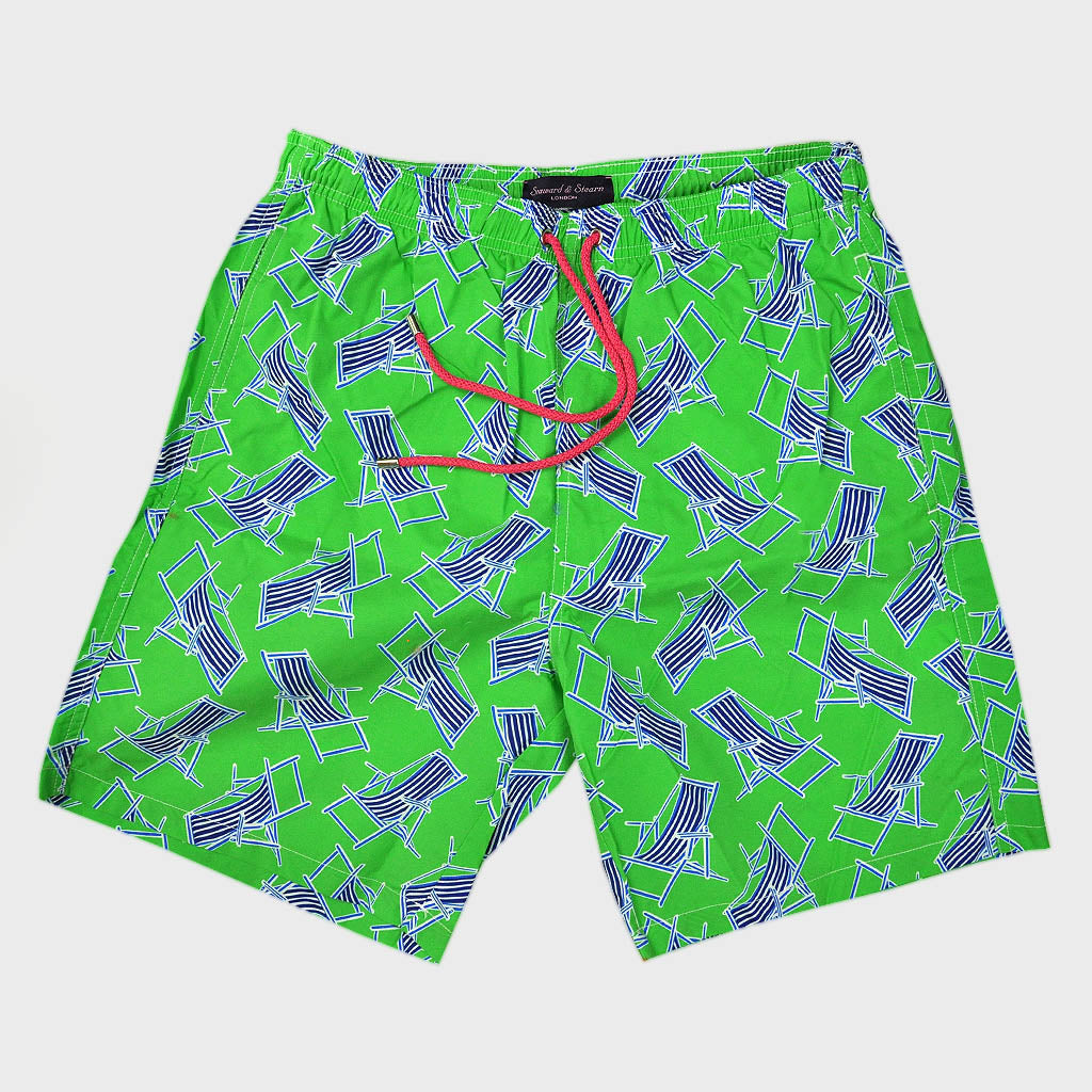 Deck Chair Swim Short in Lime & Blue