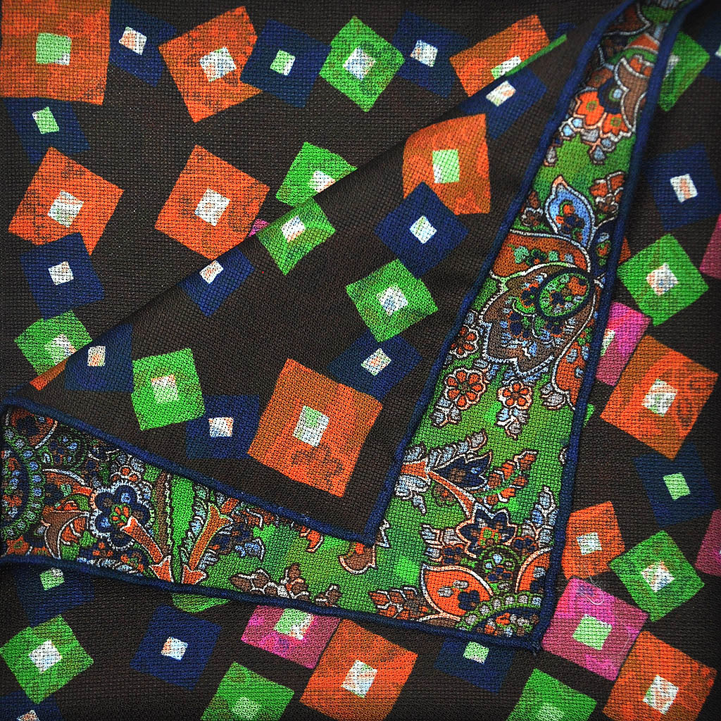 Geo's & Paisley Reversible Panama Silk Pocket Square in Brown & Lime