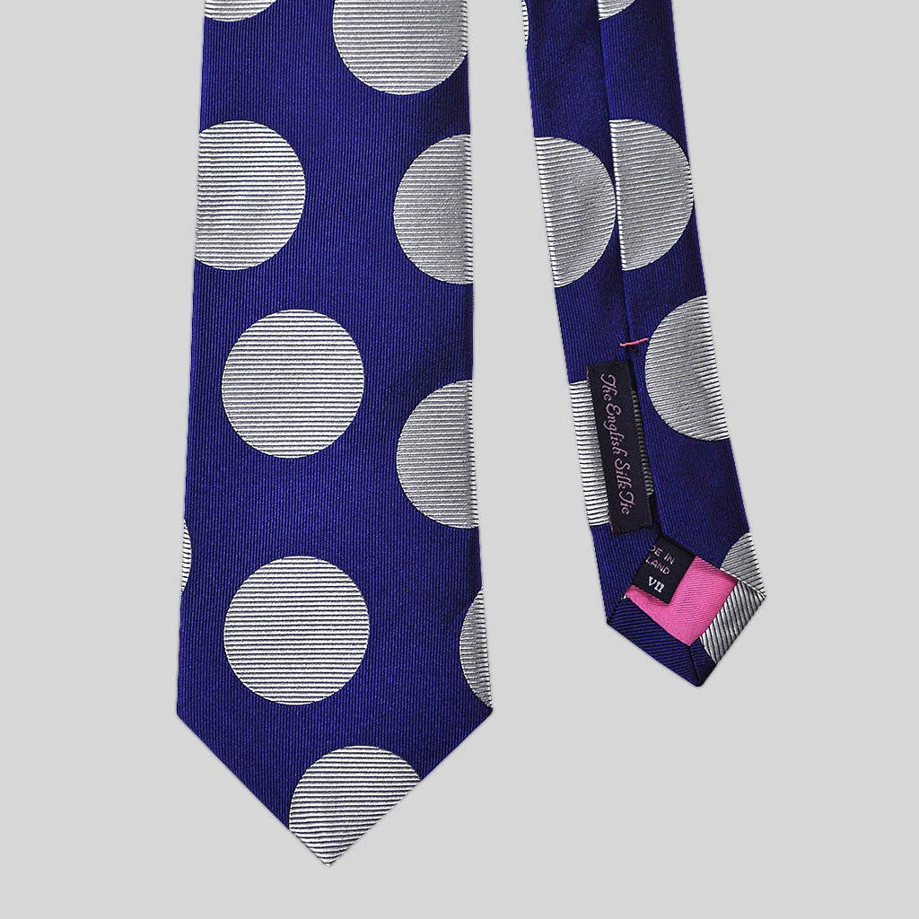English Woven Silk Super Dots Tie in Royal Blue