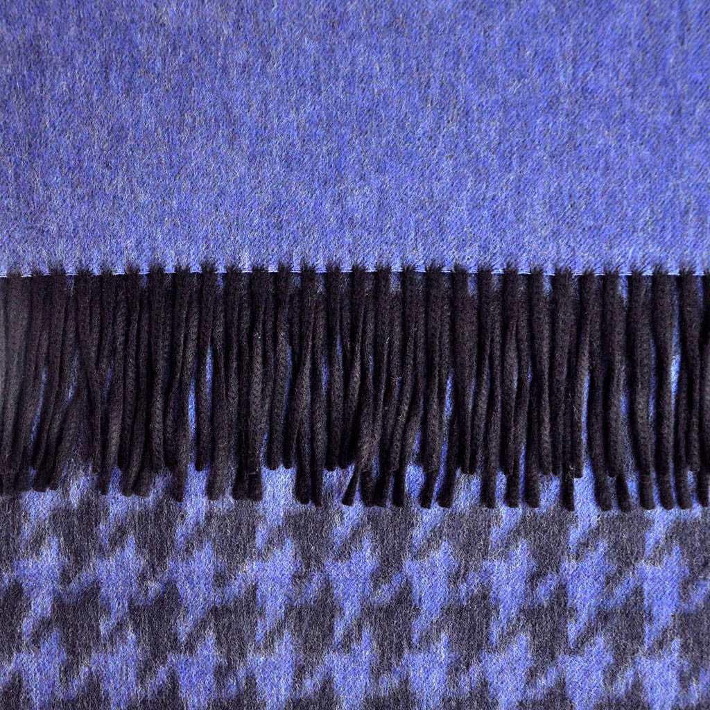Wool Houndstooth Winter Scarf in Navy & Blue