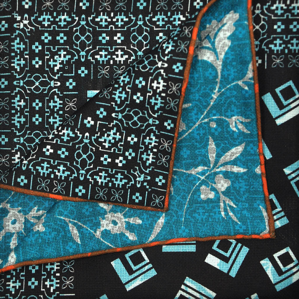 Deco Shapes & Foliage Reversible Panama Silk Pocket Square in Midnight Blue & Sky Blue