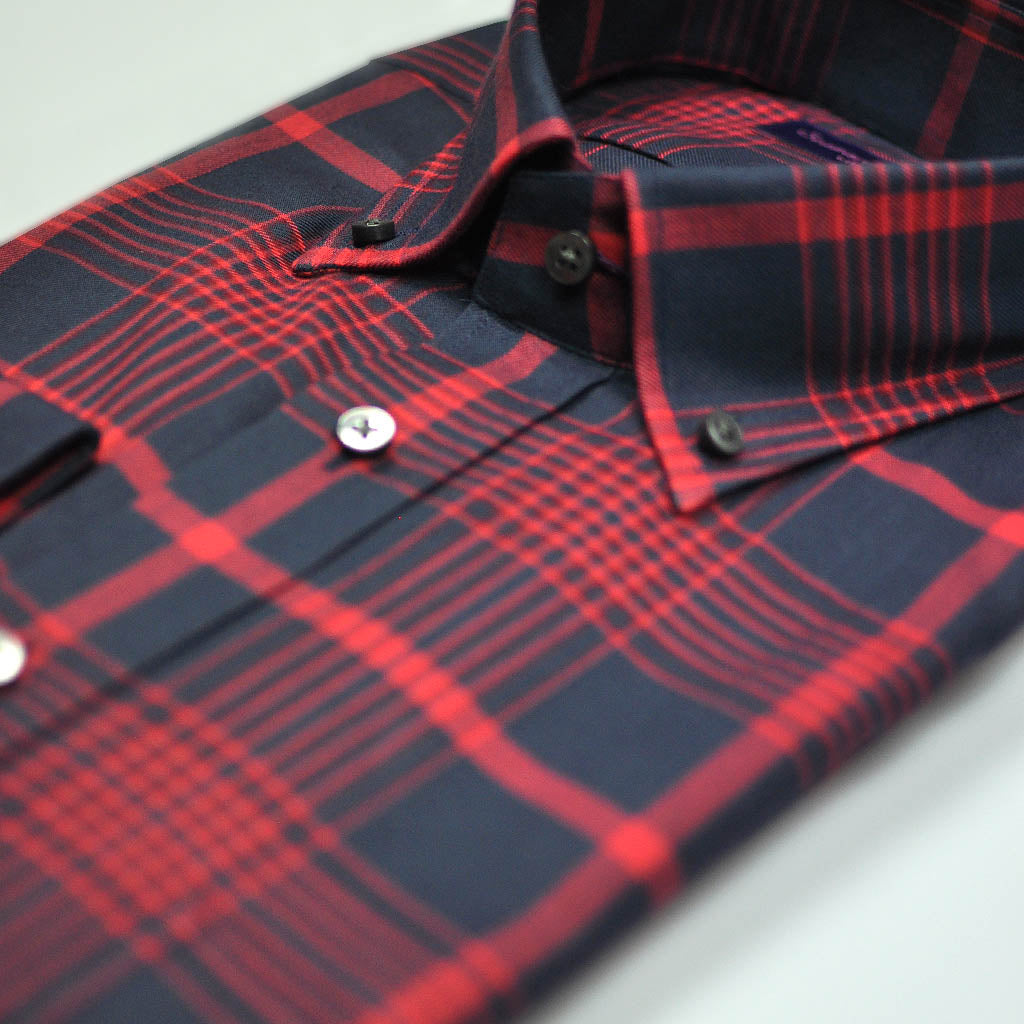 Check Button Down Cotton Over-Shirt in Navy & Red