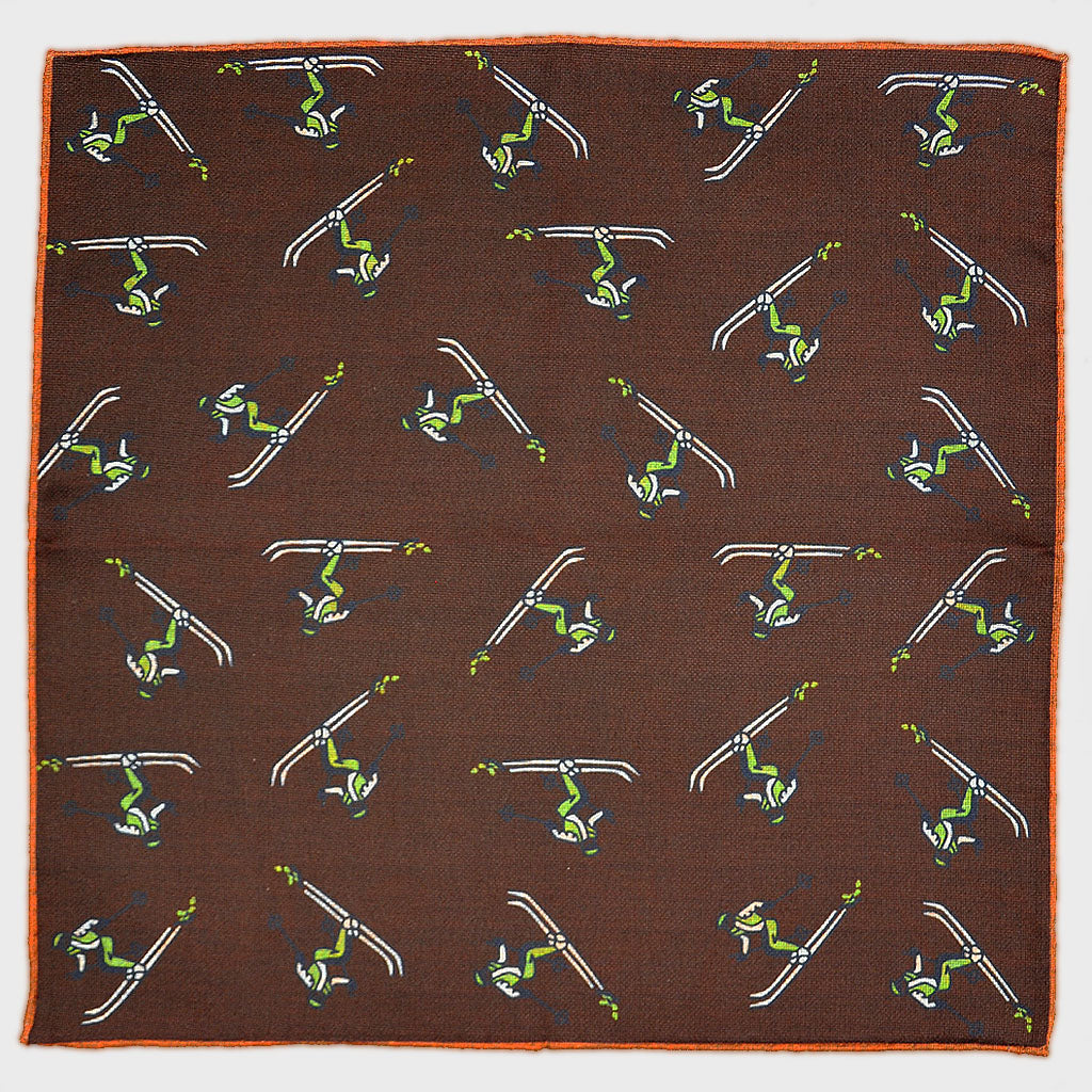 Reversible Skier & Paisley Panama Silk Pocket Square in Brown
