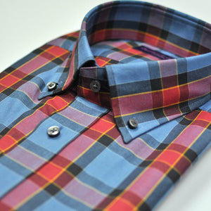 Check Button Down Cotton Over-Shirt in Blue & Red