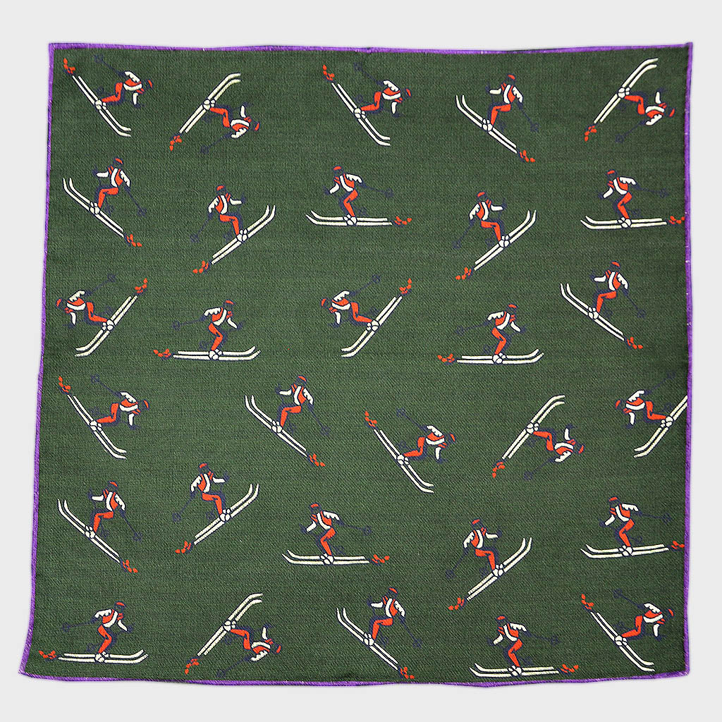 Reversible Skier & Paisley Panama Silk Pocket Square in Bottle Green