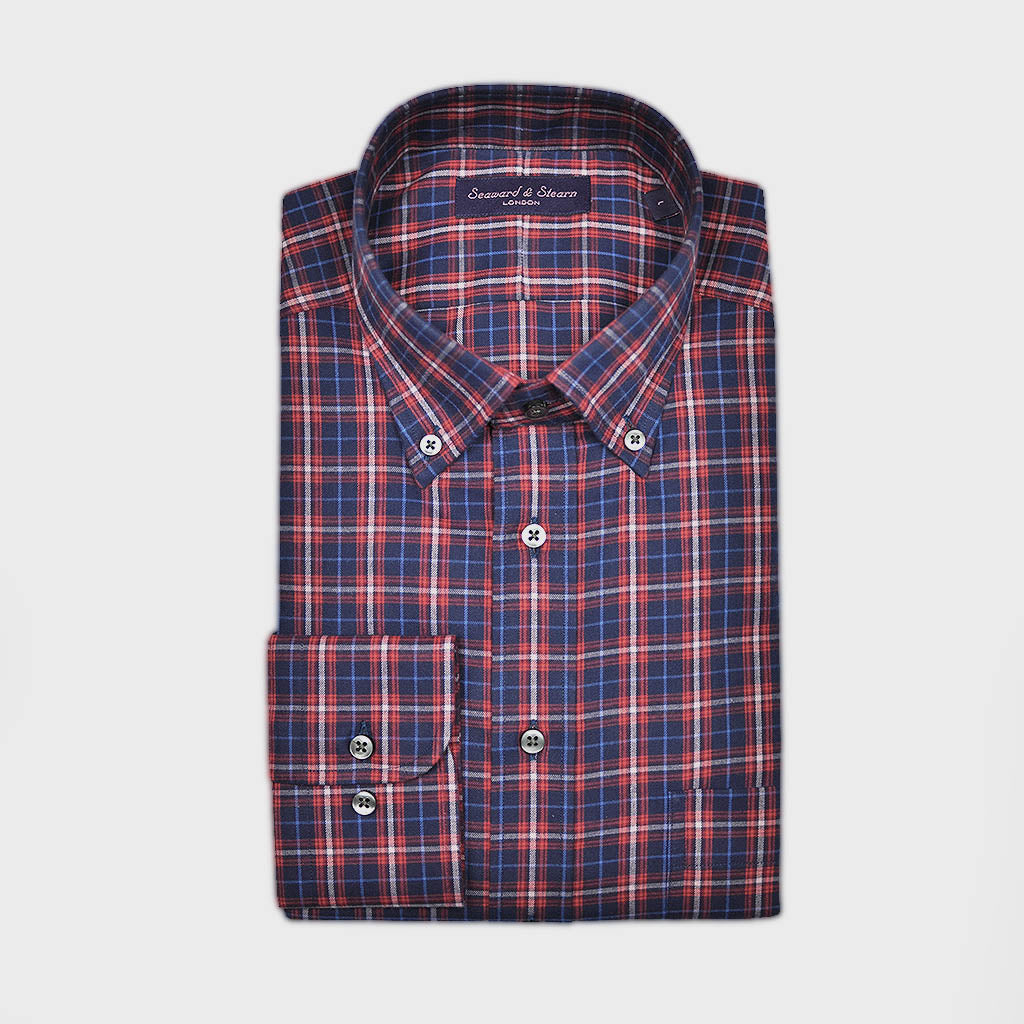 Check Button Down Cotton Over-Shirt in Navy, Blue & Red
