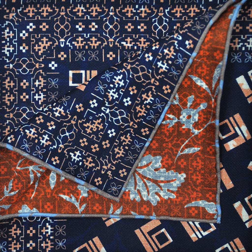 Deco Shapes & Foliage Reversible Panama Silk Pocket Square in Navy & Rusty Brown