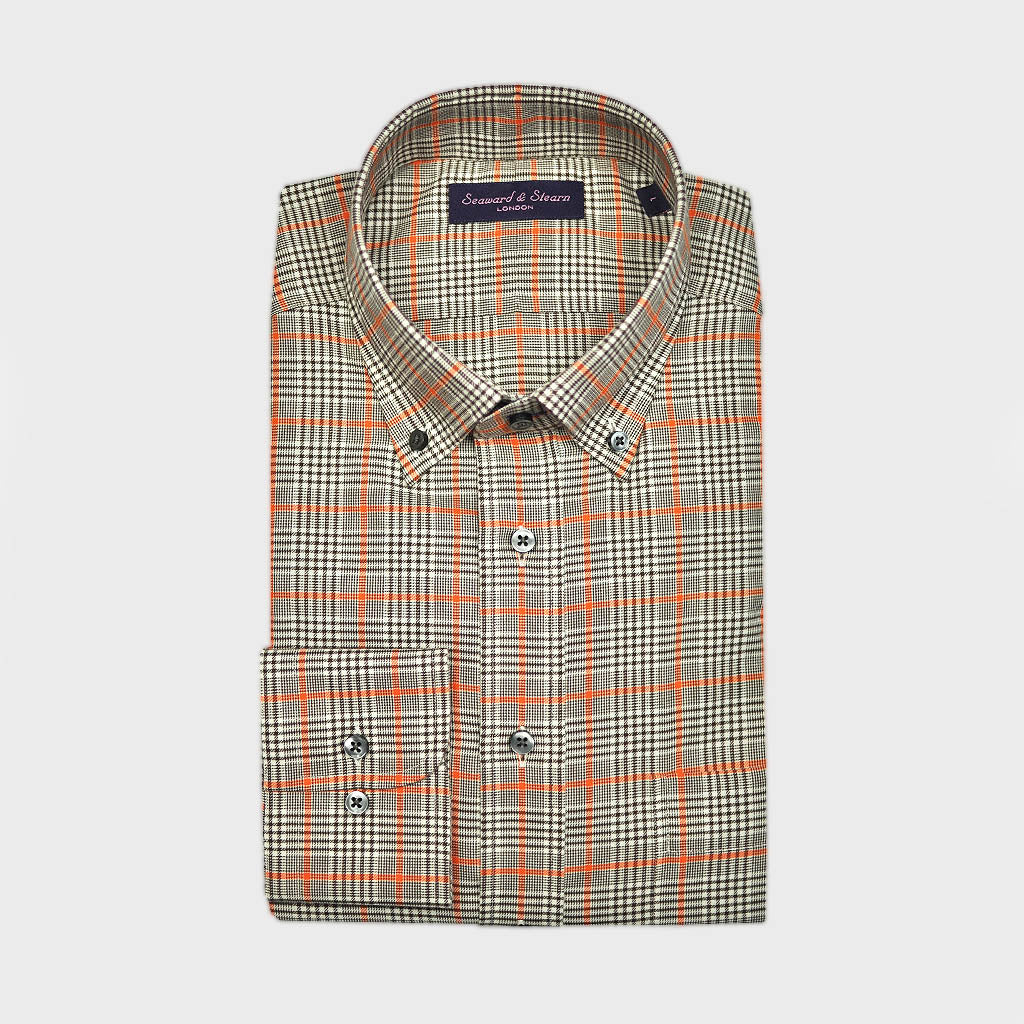 Check Button Down Cotton Over-Shirt in Light Brown & Orange