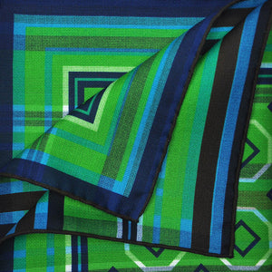 Geo's & Stripes Reversible Panama Silk Pocket Square in Blue & Green