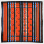 Geo's & Stripes Reversible Panama Silk Pocket Square in Red & Blue