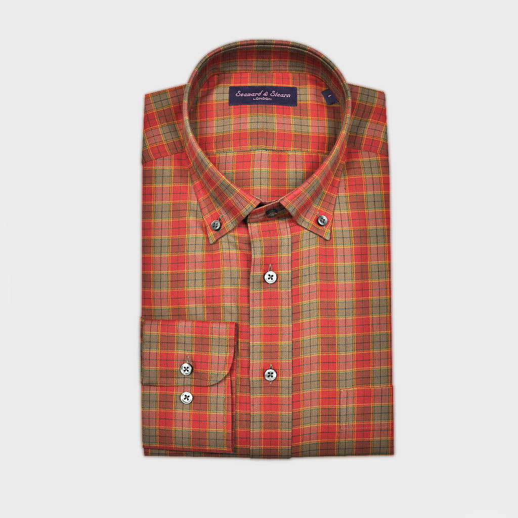 Check Button Down Cotton Over-Shirt in Red & Olive