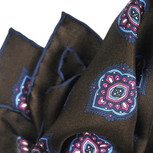 Repeat Floret English Silk Pocket Square in Brown & Blue
