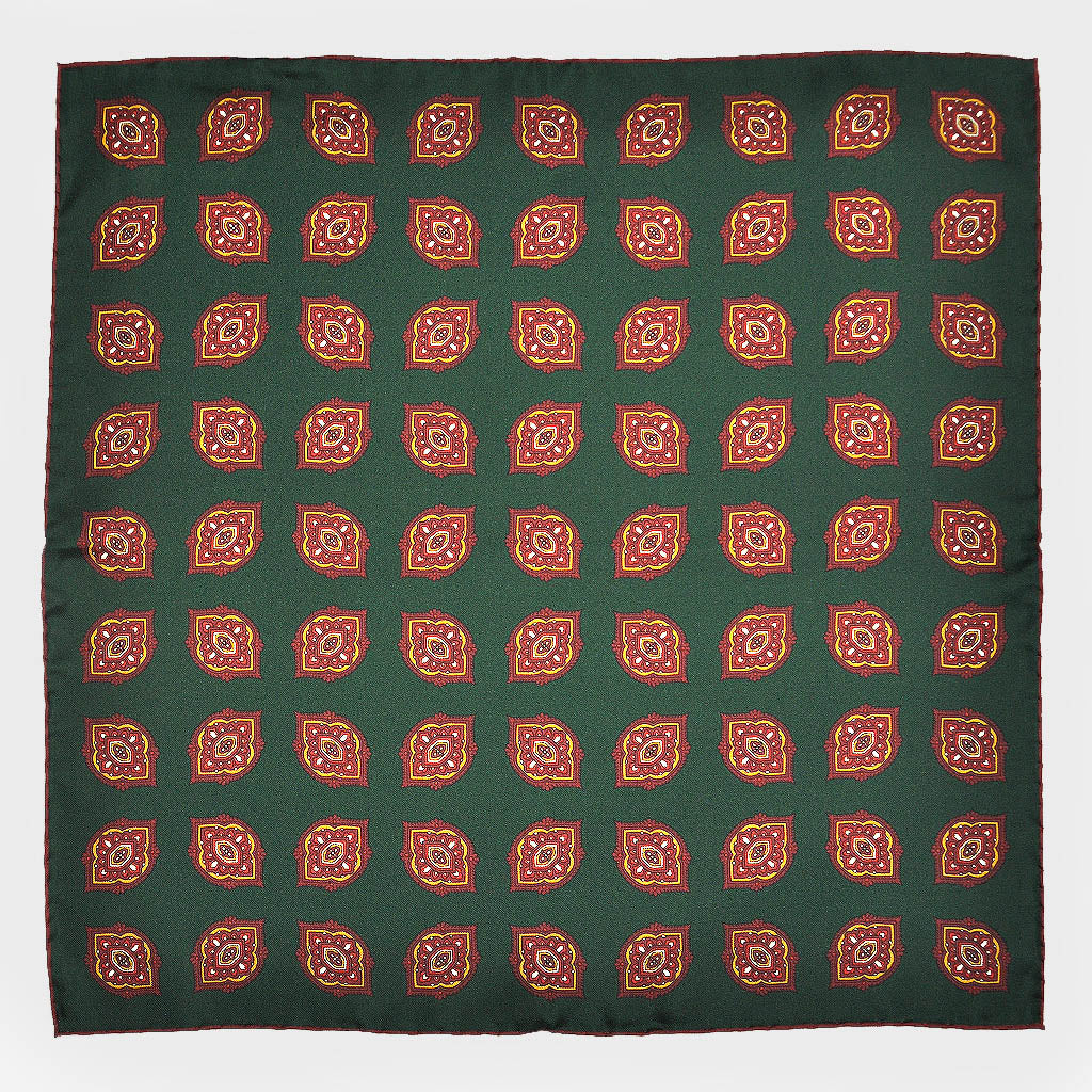Repeat Floret English Silk Pocket Square in Green & Red