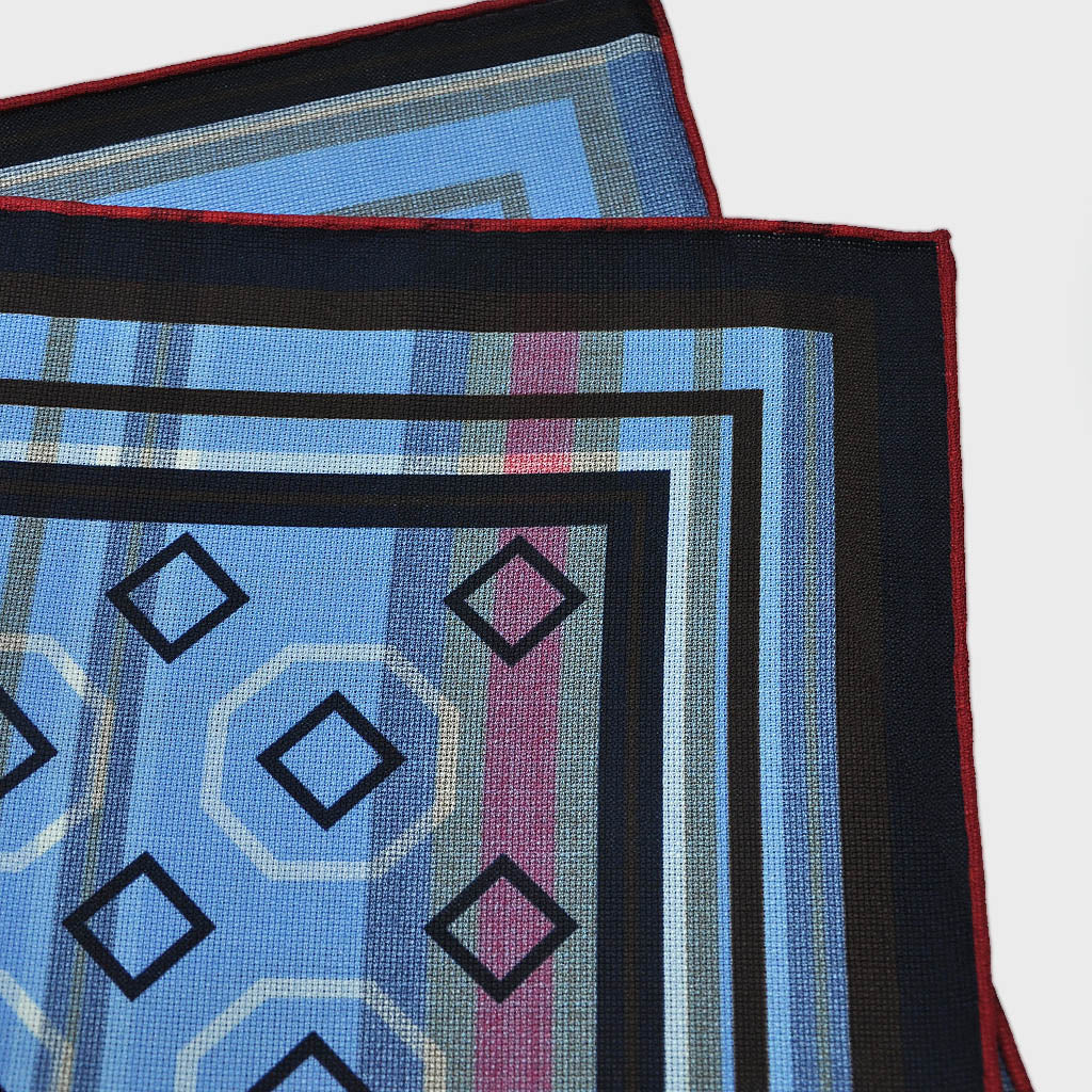 Geo's & Stripes Reversible Panama Silk Pocket Square in Blue, Brown & Claret