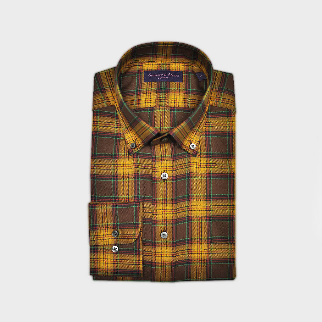 Check Button Down Cotton Over-Shirt in Brown, Ochre & Green