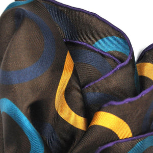 Groovy Hoops English Silk Pocket Square in Brown