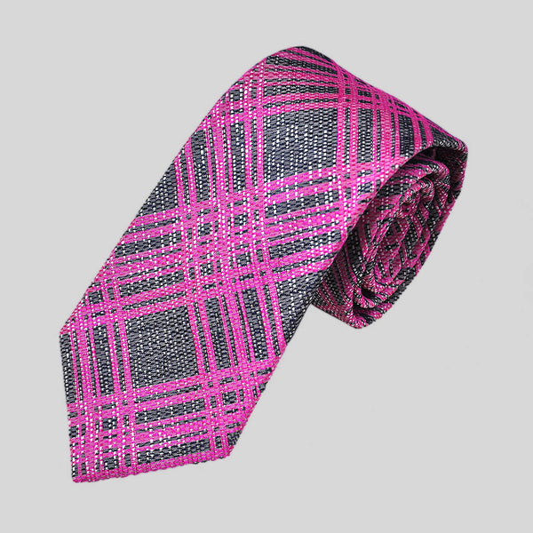 English Woven Silk Pink Web Tie